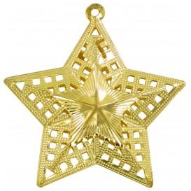 2 étoiles métalliques or à suspendre 6cm