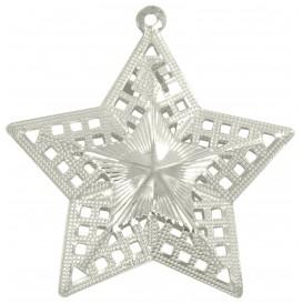 2 étoiles métalliques argent à suspendre 6cm