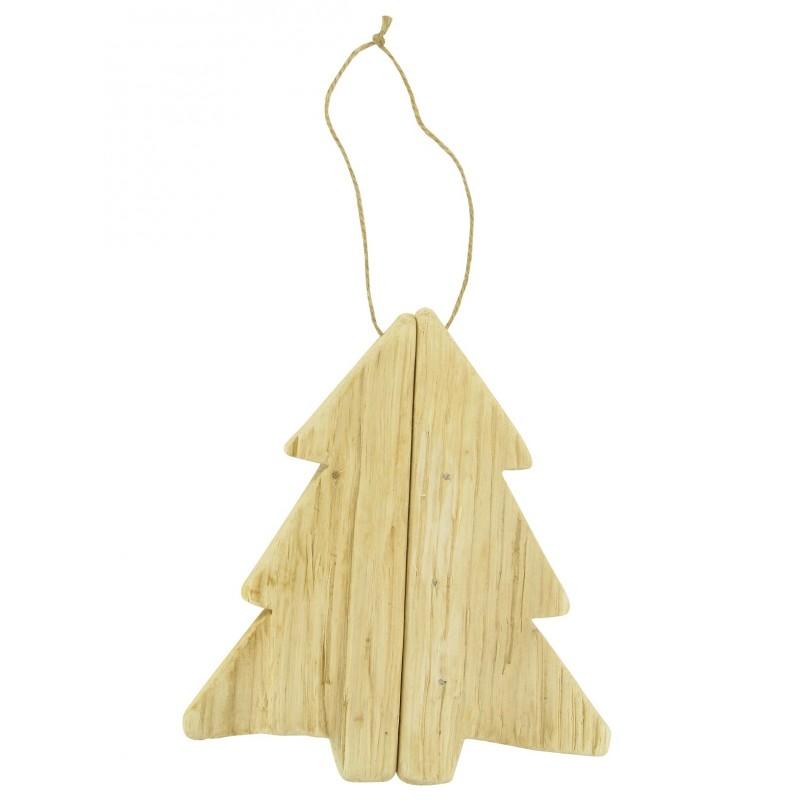 Sapin suspendre en bois flott 17x17x2 5cm - Sapin en bois a decorer ...