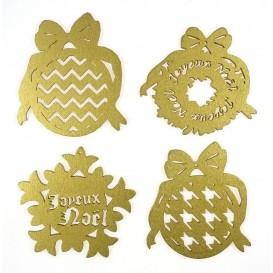 4 motifs noël plats en bois ciselé or