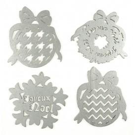 4 motifs noël plats en bois ciselé argent