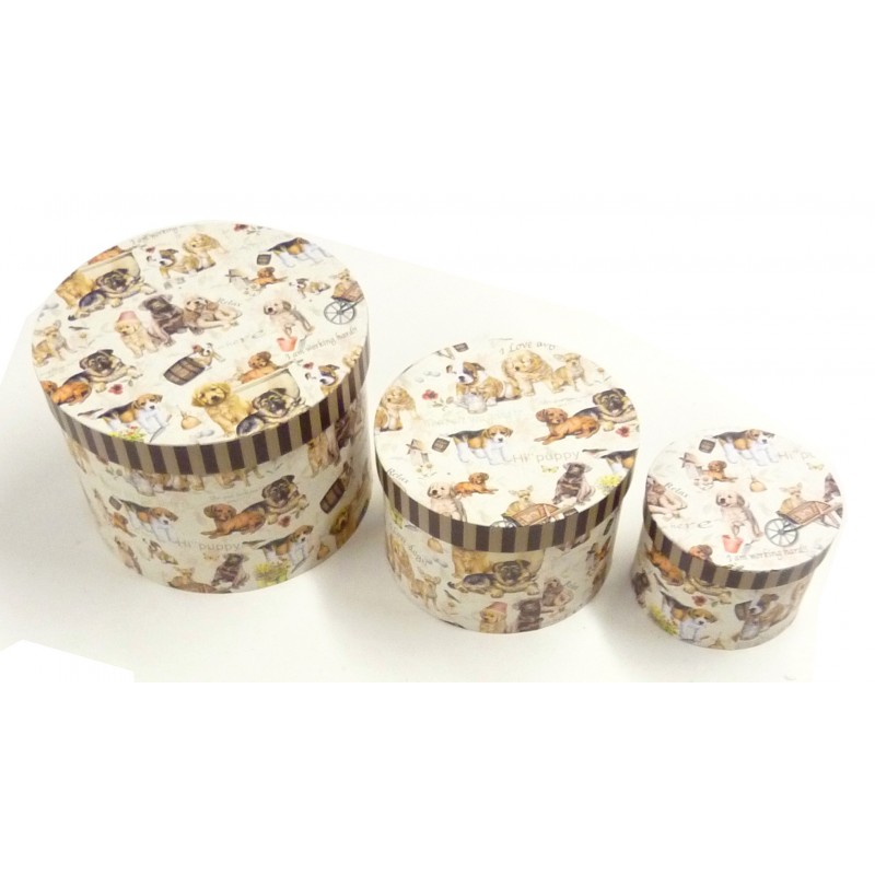3 boites de rangement ronde en carton type poup es russes for Boite de rangement ronde