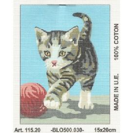 Kit canevas chat joue à la balle 15x20 cm