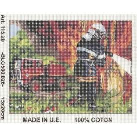 Kit canevas pompier 15x20 cm