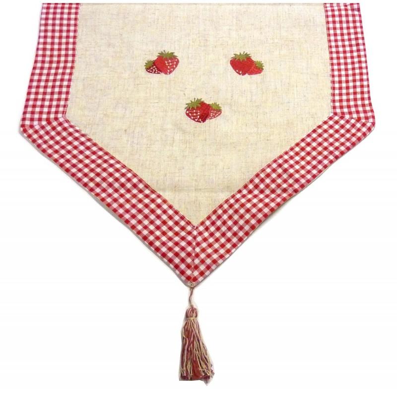 Chemin de table en tissu les fraises 45x145cm - Chemin de table en tissu ...