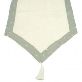 chemin de table poly lin ines gris 45x145cm