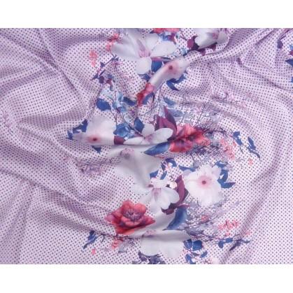 tissu satiné fleurs lilas largeur 148cm au mètre