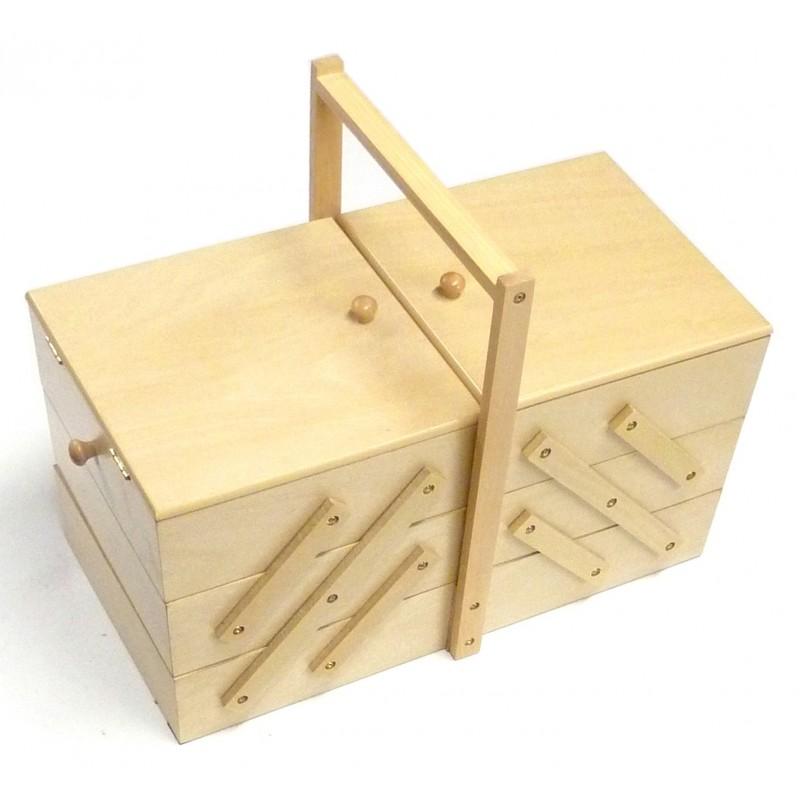 Grande travailleuse bois clair boite couture for Travailleuse couture bois