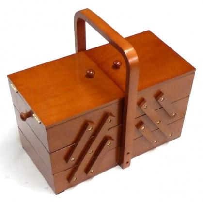 Travailleuse en bois fonc boite couture for Boite a couture en bois a decorer