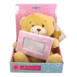 peluche ours 17cm pancarte rose à broder