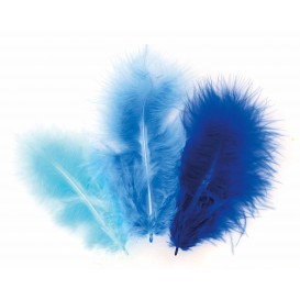 50 plumes d'oiseaux camaieu bleu