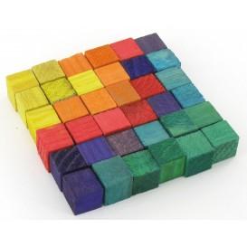 36 cubes en bois multicolores 1,5cm
