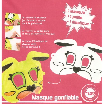 masque gonflable lapin 22x11cm