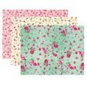 3 coupons de tissus adhésif fleurs 15x20cm