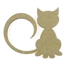 sujet en bois chat longue queue