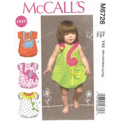 patron enfant barboteuses McCall's M6726