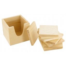 8 dessous de verre carré en bois