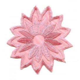 écusson fleur rose thermocollant