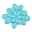 écusson grande fleur turquoise thermocollant