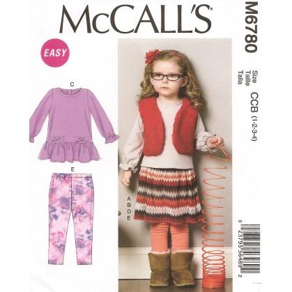 patron enfant gilet, haut, robe, jupe McCall's M6780
