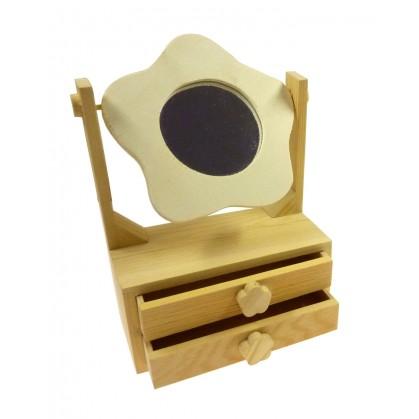 Petite coiffeuse miroir en bois brut d corer for Miroir bois brut