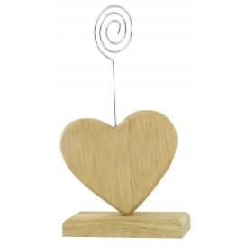marque place coeur en bois tige métal 7x6,5cm
