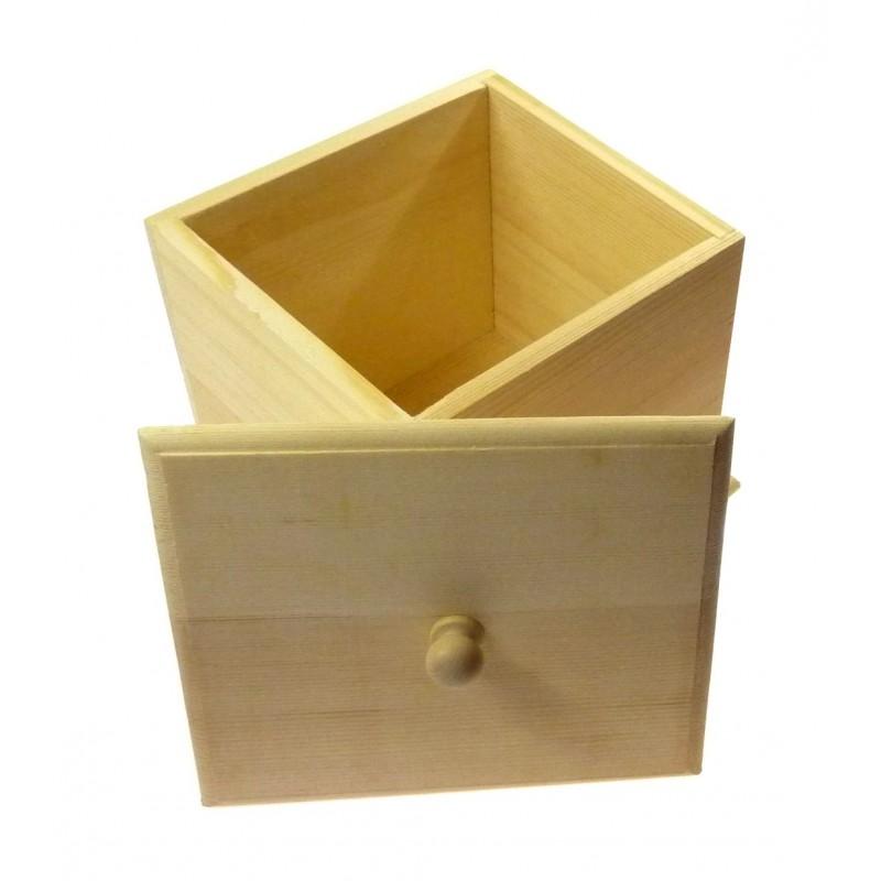 Bo te caf en bois brut couvercle amovible d corer for Boite bois a decorer