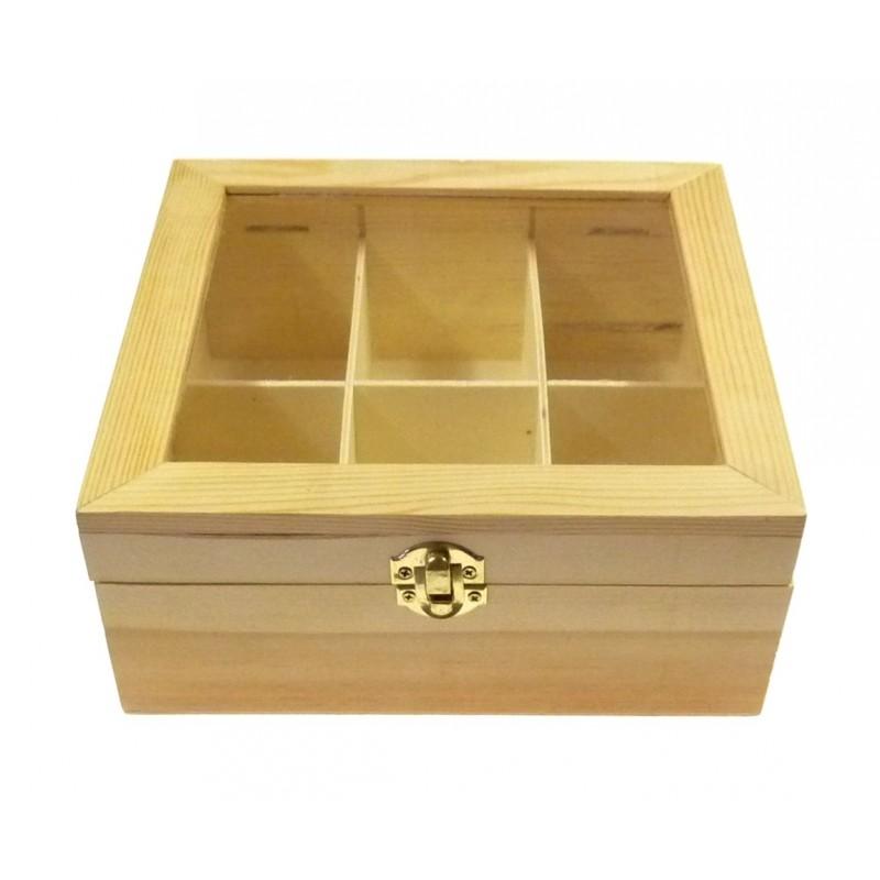 Bo te th en bois brut 6 compartiments decorer for Boite bois a decorer