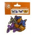 8 papillons plats en bois