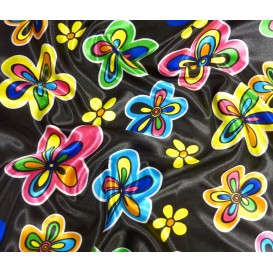 tissu satin carnaval noir papillons largeur 150cm x 50cm