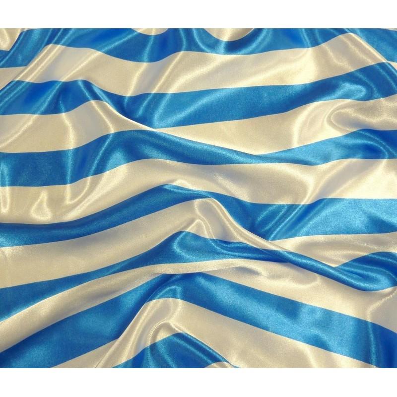 tissu satin carnaval rayures blanc bleu largeur 150cm x 50cm. Black Bedroom Furniture Sets. Home Design Ideas