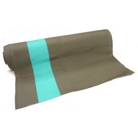 tissu toile transat taupe/turquoise largeur 44cm x 50cm