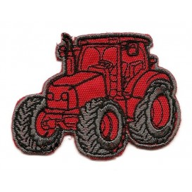 écusson tracteur rouge thermocollant