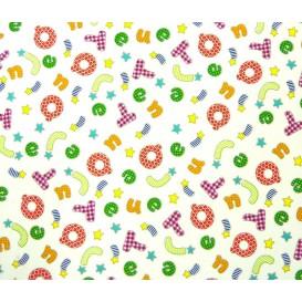 tissu popeline blanc lettres largeur 145cm x 50cm