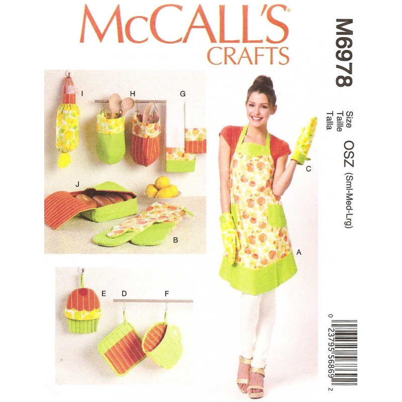 Patron tablier accessoires cuisine mccall 39 s m6978 Patron tablier cuisine 2 ans