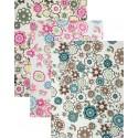 3 coupons de tissus adhésif fleurs 15x20cm n°2