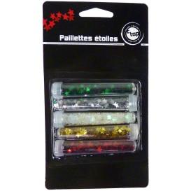5 tubes paillettes étoiles 4mm assortis