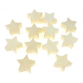 12 étoiles en bois brut 2,5x1cm