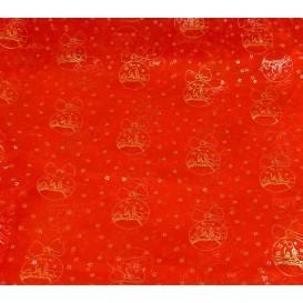 tissu organza rouge boule noël or largeur 155cm x 50cm