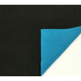 tissu polaire bicolore noir/turquoise largeur 147cm x 50cm