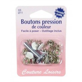 6 boutons pression couleur 11mm outillage