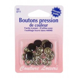 6 boutons pression couleur 11mm