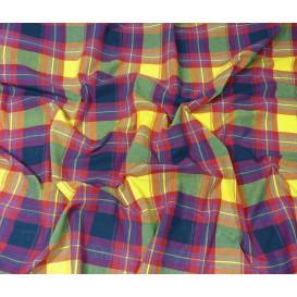 tissu coton madras marine jaune largeur 160cm x 50cm n°1