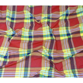 tissu coton madras rouge jaune largeur 160cm x 50cm