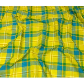 tissu coton madras jaune turquoise largeur 160cm x 50cm n°1