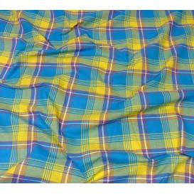 tissu coton madras turquoise jaune largeur 160cm x 50cm
