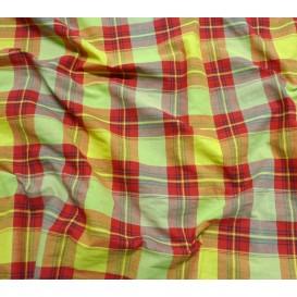 tissu coton madras jaune rouge largeur 160cm x 50cm