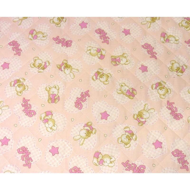 Tissu matelass b b lapin rose largeur 155cm x 50cm - Tissu matelasse pour bebe ...