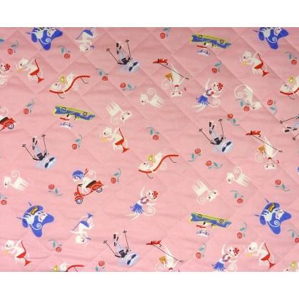 Tissu matelass b b chat rose largeur 135cm x 50cm - Tissu matelasse pour bebe ...
