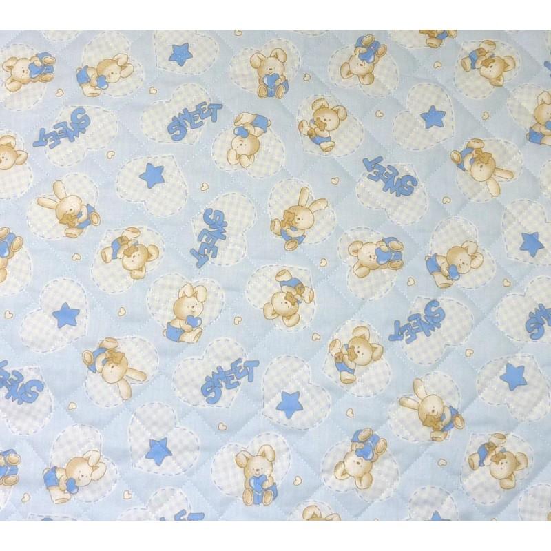 Tissu matelass b b lapin bleu largeur 155cm x 50cm - Tissu matelasse pour bebe ...